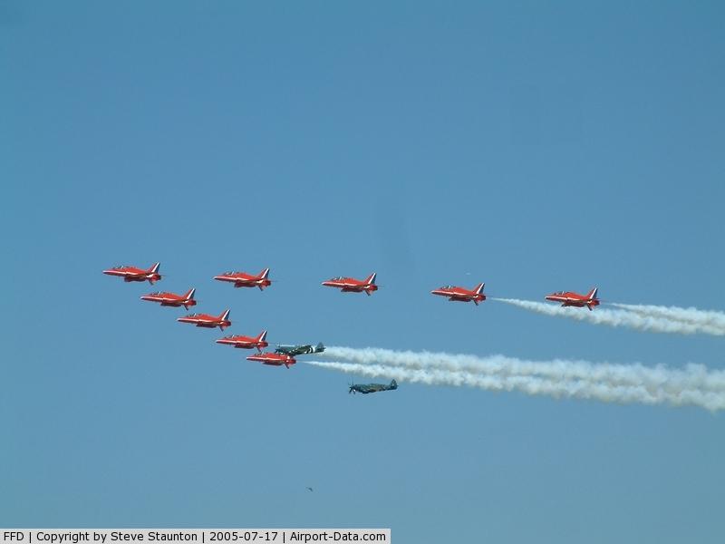 RAF Fairford Airport, Fairford, England United Kingdom (FFD) - Red Arrows and Three Spitfires at Royal International Air Tattoo 2005