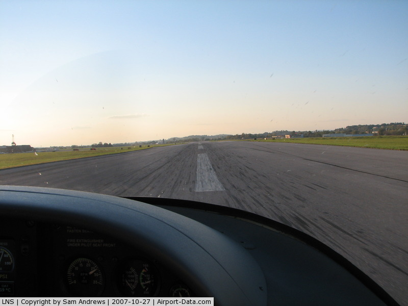 Lancaster Airport (LNS) - Starting the takeoff roll on rwy 30 LNS.  Sorry about the busgs ont he windshield!