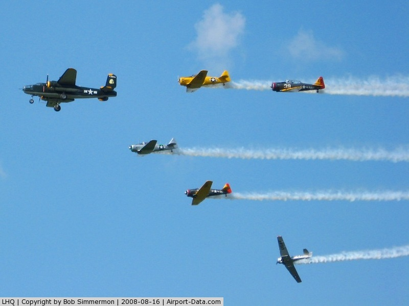 Fairfield County Airport (LHQ) - AT-6 & B-25 (N744CG) formation at Wings of Victory airshow - Lancaster, Ohio