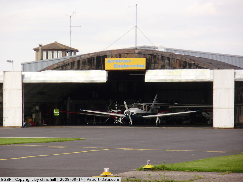 Peterborough Business Airport, Peterborough, England United Kingdom (EGSF) - Aerolease Engineering hangar at Conington