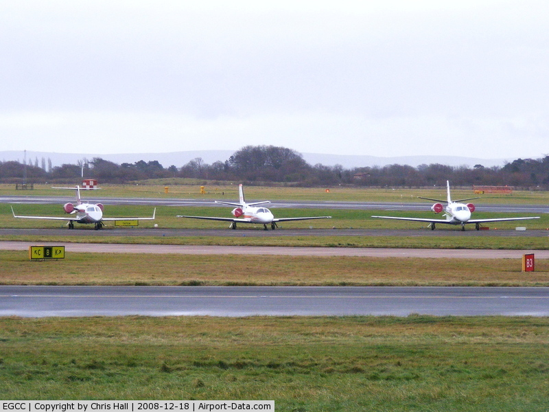 Manchester Airport, Manchester, England United Kingdom (EGCC) - from left to right G-RWGW; VP-CED; N560TH
