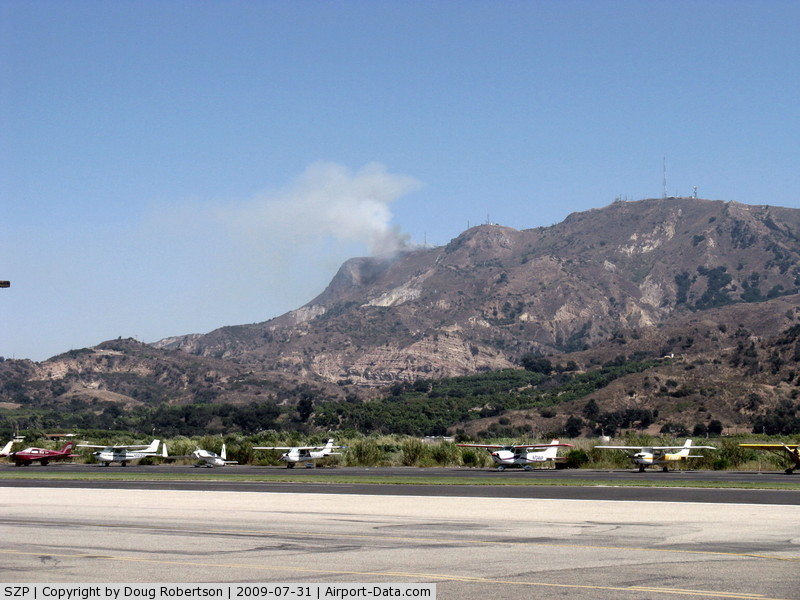 Santa Paula Airport (SZP) - Photo 1. South Mountain new fire just noted. Fire Department called.