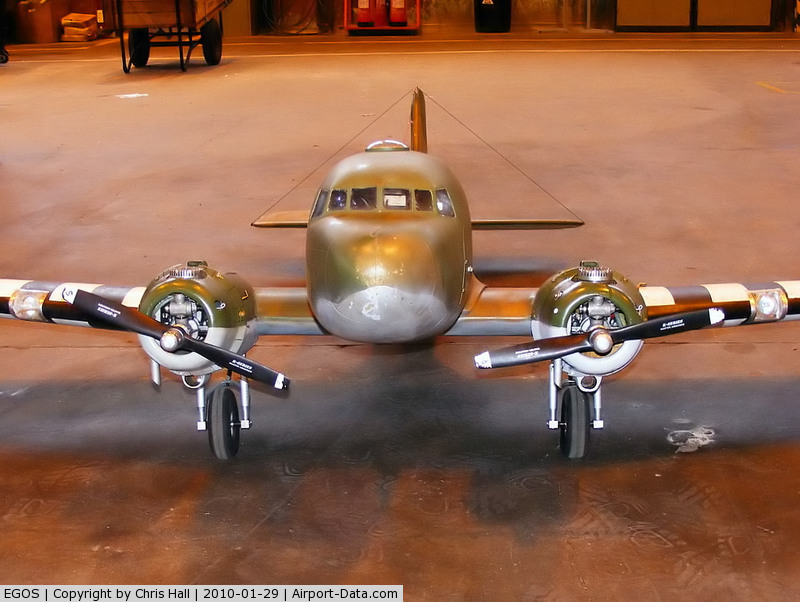 RAF Shawbury Airport, Shawbury, England United Kingdom (EGOS) - large scale model of a C47 Dakota at RAF Shawbury