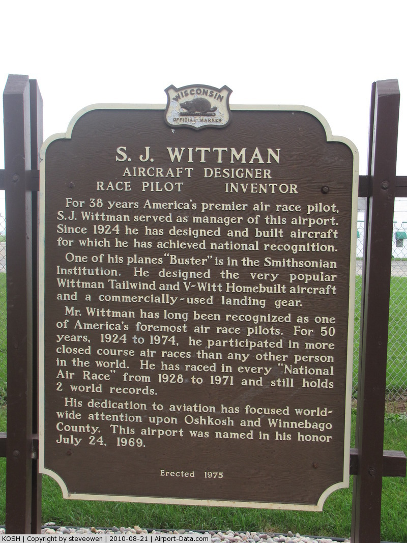Wittman Regional Airport (OSH) - Historical marker at KOSH explaining for whom the field is named after