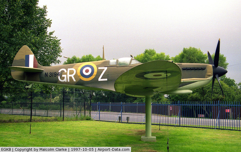 London Biggin Hill Airport, London, England United Kingdom (EGKB) - Supermarine Spitfire (replica) N3194 / GR-Z. With Hurricane FSM (L1710), this Spitfire replica adorns the gate outside the RAF Memorial Chapel at Biggin Hill. Painted to represent N3194 of 92 Squadron, the top scoring squadron in the Battle of Britain.