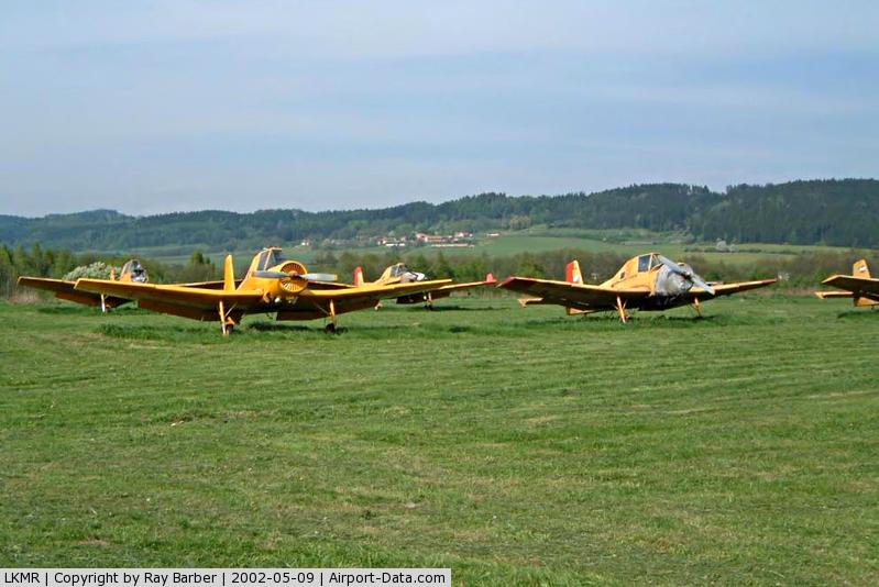 Mariánské Lázn? Airport, Mariánské Lázn? Czech Republic (LKMR) -  Various LET aircraft in open store.