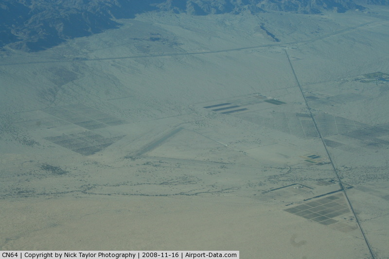 Desert Center Airport (CN64) - Seen from high over the desert. Almost invisible.