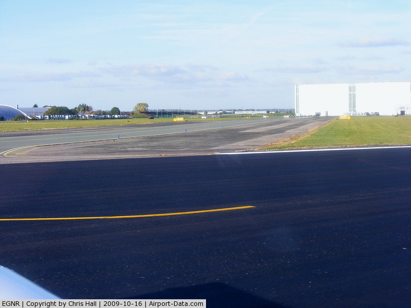 Hawarden Airport, Chester, England United Kingdom (EGNR) - view down taxyway Delta and the A380 factory