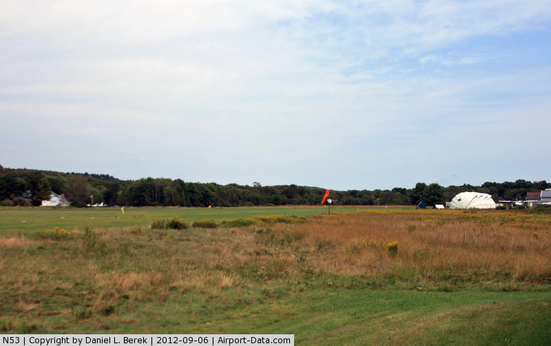 Stroudsburg-pocono Airport (N53) - This little airport offers skydiving experiences from two turboprop aircraft; the main hangar is off to the right.
