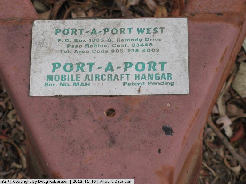 Santa Paula Airport (SZP) - PORT-A-PORT Mobile Aircraft Hangar, data on it's trailer hitch