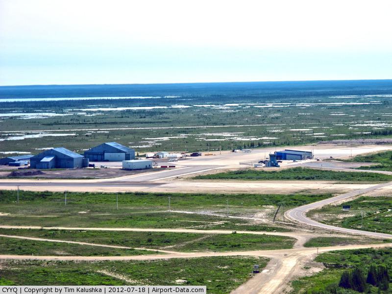 Churchill Airport, Churchill, Manitoba Canada (CYYQ) - shot of the apron and hangars