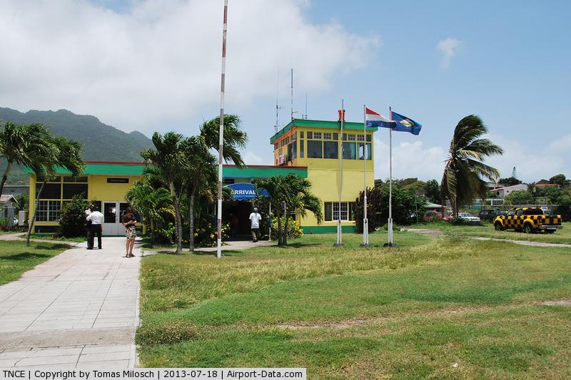 F.D. Roosevelt Airport – Sint Eustatius, Netherlands Antilles,  Netherlands Antilles (TNCE) - The airport buliding seen from the runway.