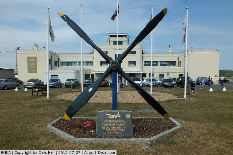 Shoreham Airport, Shoreham United Kingdom (EGKA) - Memorial featuring a Martin B-26 Marauder prop with the Grade II* listed art deco style Terminal  Building in the background