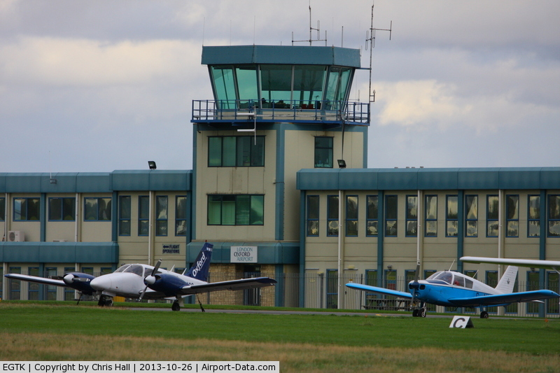 Oxford Airport, Oxford, England United Kingdom (EGTK) - Oxford Airport tower and terminal building
