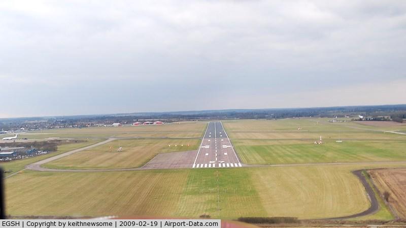 Norwich International Airport, Norwich, England United Kingdom (EGSH) - Landing onto runway 27.