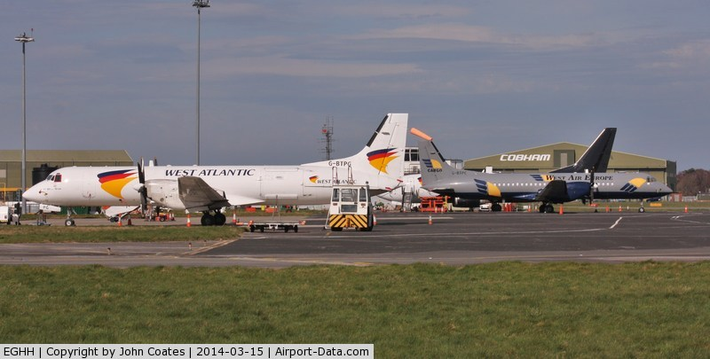 Bournemouth Airport, Bournemouth, England United Kingdom (EGHH) - West Atlantic and West Air Europe schemes.