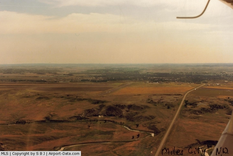Frank Wiley Field Airport (MLS) - Air view of Miles City,Mt. airport.