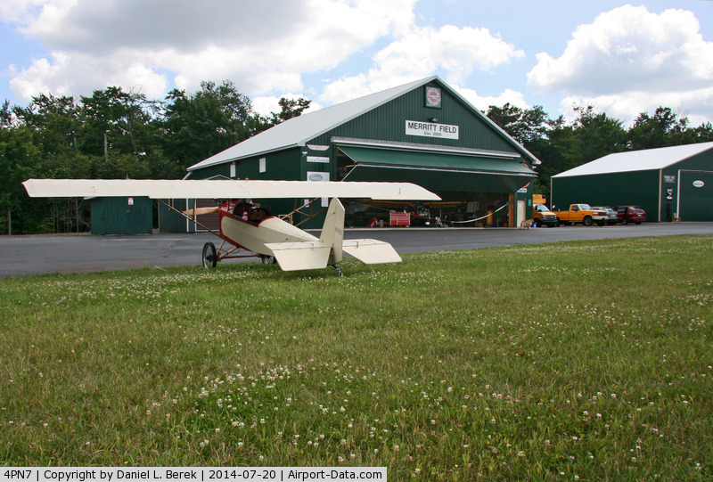 Merritt Field Airport (4PN7) - Merritt Field, located in beautiful Sullivan County, PA, is home to the Eagle's Mere Air Museum, which uses most of the hangar buildings and owns the beautiful little Pietenpol Aircamper in the foreground.