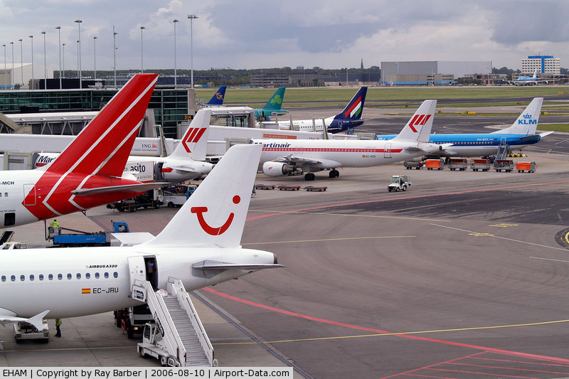 Amsterdam Schiphol Airport, Haarlemmermeer, near Amsterdam Netherlands (EHAM) - Showing a number of Airlines using the airport.