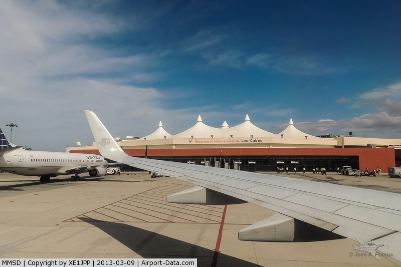 Los Cabos International Airport, Los Cabos, Baja California Sur Mexico (MMSD) - View from the airplane.