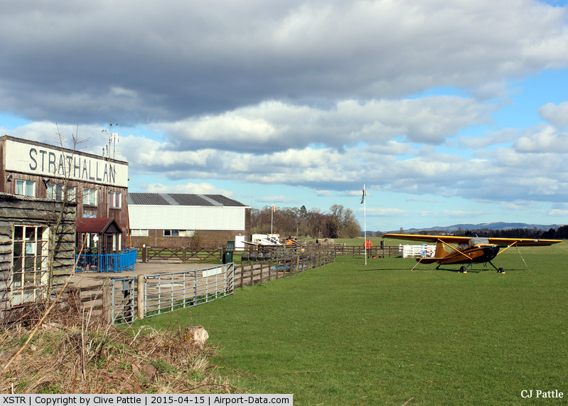 XSTR Airport - Strathallan Airfield, XSTR, near Auchterarder, Perthshire, Scotland - the home of Skydive Scotland. The parked aircraft is C170A N170AZ (see aircraft photos).