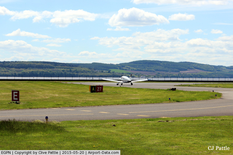 Dundee Airport, Dundee, Scotland United Kingdom (EGPN) - Hold for runway 27 at Dundee Riverside EGPN for departing PA-28 G-SUEB.