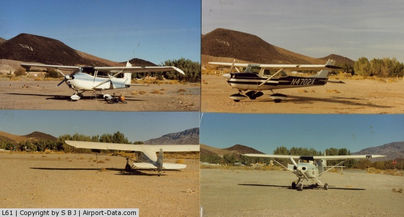 Shoshone Airport (L61) - Some of my many stops at L61.In the 70s,arrivals were always greeted by a local resident.While not a pilot,he liked talking about airplanes.Missed him when it stopped in the 80s.Nice stop for lunch,gas,ice etc.