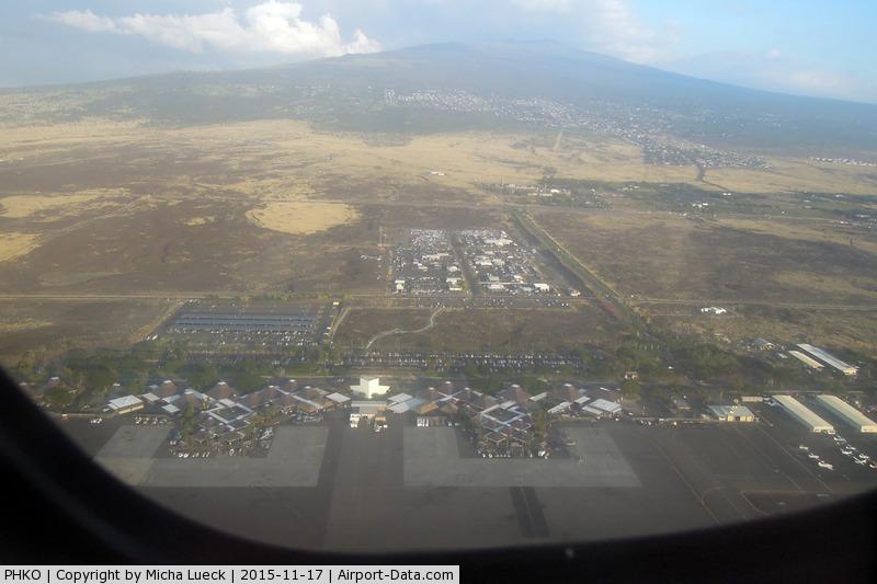 Kona International Airport, Kailua-Kona, Hawaii United States (PHKO) - Kailua-Kona airport and Mauna Kea (taken from N805HC of Ohana)