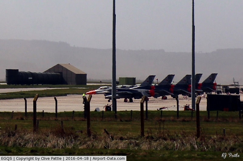RAF Lossiemouth Airport, Lossiemouth, Scotland United Kingdom (EGQS) - A long heat-haze affected shot of the Turkish F-16 contingent parked on the 15R Sqn ramp at RAF Lossiemouth EGQS during Exercise Joint Warrior 16-1