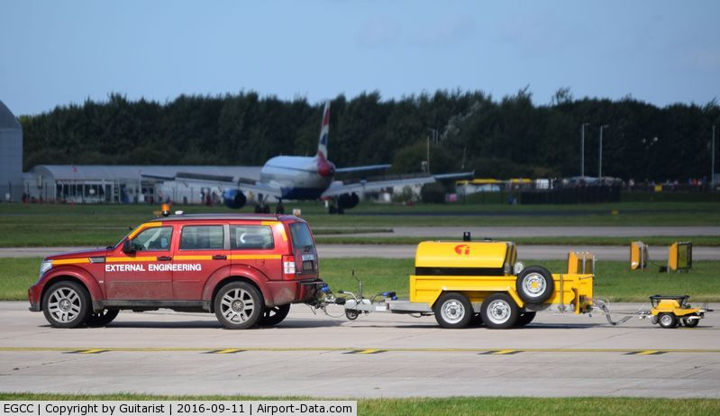 Manchester Airport, Manchester, England United Kingdom (EGCC) - Runway calibration vehicle at Manchester
