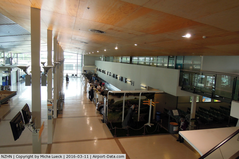 Hamilton International Airport, Hamilton New Zealand (NZHN) - Check-in area at Hamilton. Note Gandalf in the picture :-)
