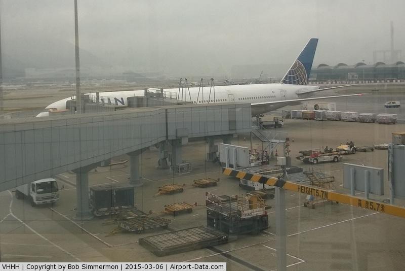 Hong Kong International Airport, Hong Kong Hong Kong (VHHH) - UA896 preparing for the long flight from Hong Kong to Chicago O'Hare.