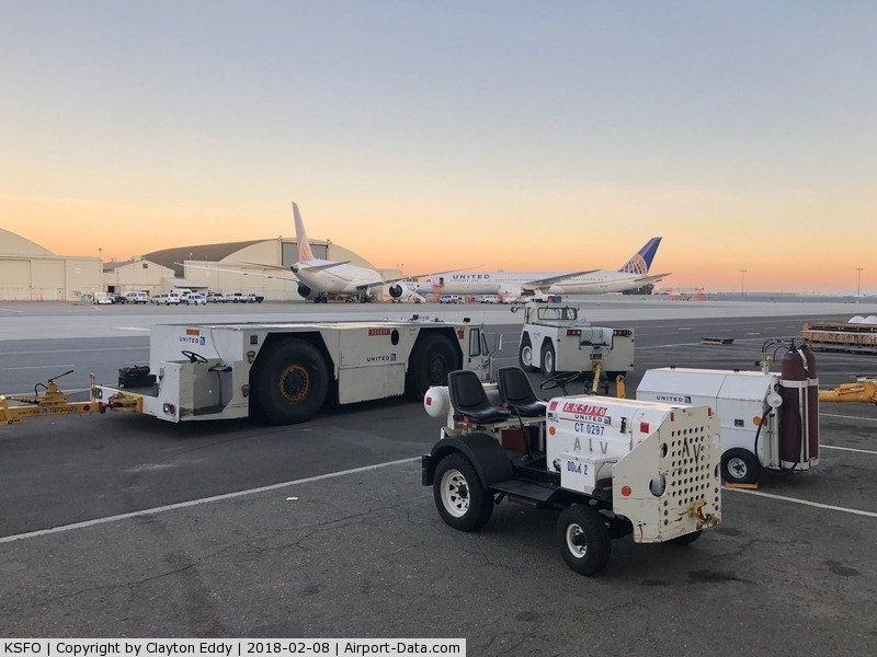 San Francisco International Airport (SFO) - Aircraft tugs at San Francisco Airport. 2018.