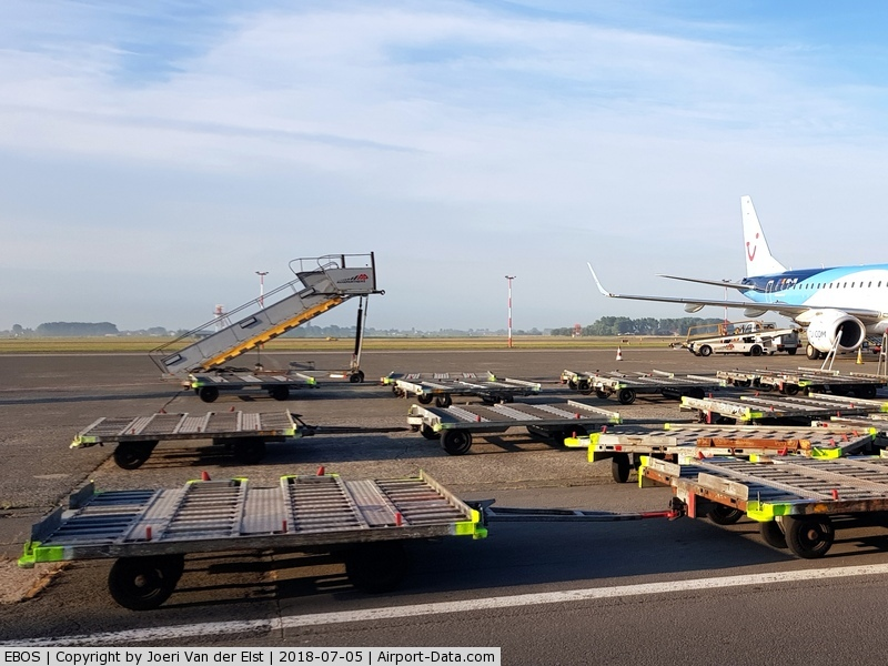 Ostend-Bruges International Airport, Ostend Belgium (EBOS) - Stairway to Heaven,loading equipment, OO-JVA, picture taken by An Van der Elst with permission