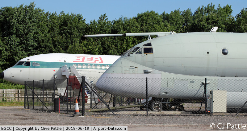Manchester Airport, Manchester, England United Kingdom (EGCC) - Preserved HS Trident and BAe Nimrod at the 'Runway' Visitor Centre at Manchester EGCC