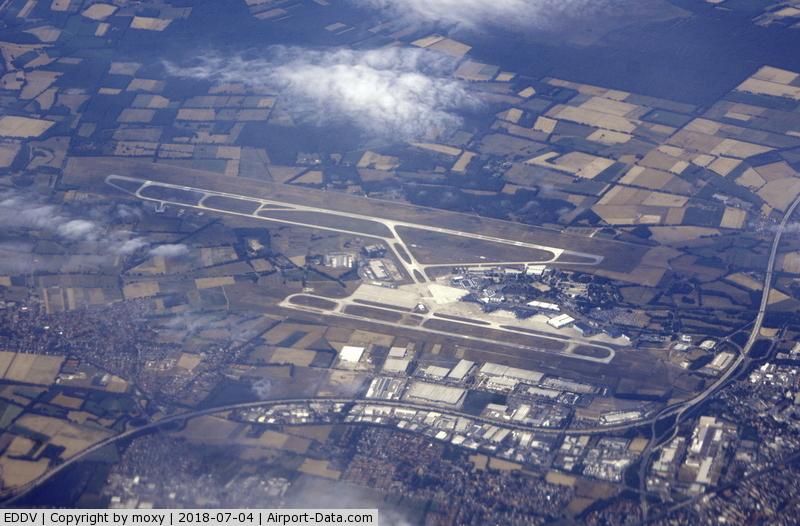Hanover/Langenhagen International Airport, Hanover Germany (EDDV) - Hanover Airport taken at about 32000 ft from G-EUYP