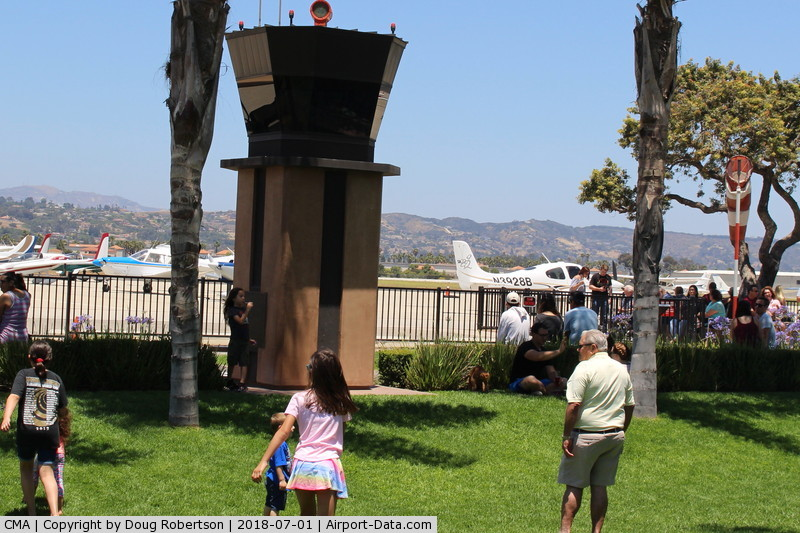 Camarillo Airport (CMA) - Another view of CMA's Public View Park with miniature Control Tower with live pilot and ATC two-way audio also with rotating beacon and Wind Sock.