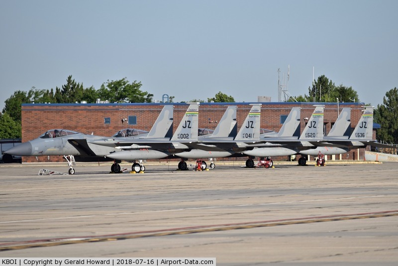 Boise Air Terminal/gowen Fld Airport (BOI) - 4 of 8 F-15C fighters from the 122nd Fighter Sq.