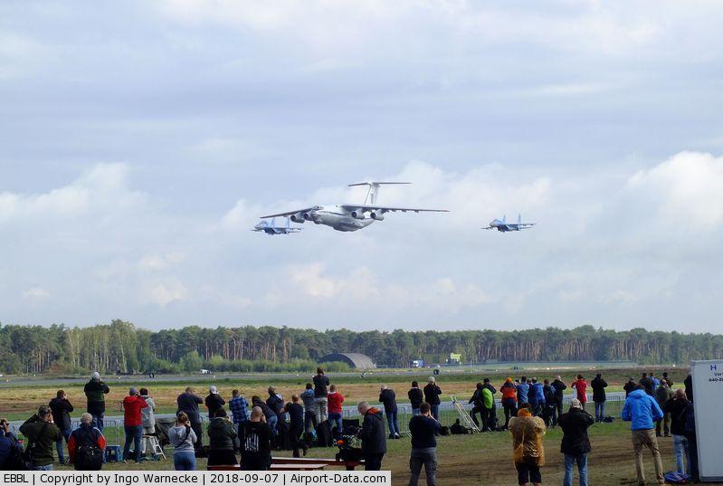 Kleine Brogel Air Base Airport, Kleine Brogel Belgium (EBBL) - Ilyushin Il-76 and 2 Sukhoi Su-27 flypast at the 2018 BAFD Spottersday at Kleine Brogel airbase