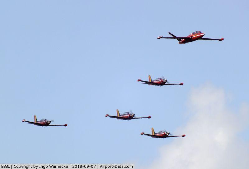 Kleine Brogel Air Base Airport, Kleine Brogel Belgium (EBBL) - Belgian AF disply with 4 SF.260 and veteran Fouga Magister at the 2018 BAFD Spottersday at Kleine Brogel airbase