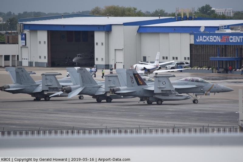 Boise Air Terminal/gowen Fld Airport (BOI) - Three EA-18Gs from VAQ-133 parked on the north GA ramp.