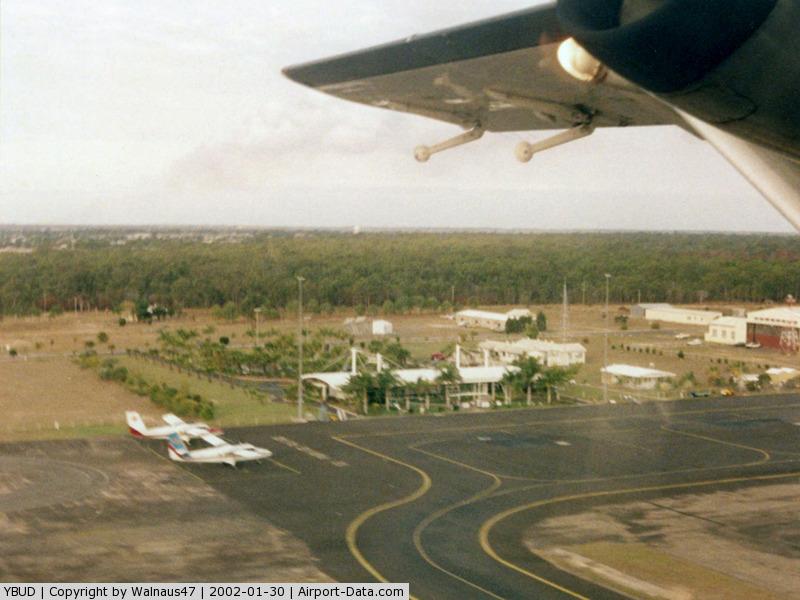 Bundaberg Airport, Bundaberg, Queensland Australia (YBUD) - Low Res Overview Bundaberg Airport YBUD on take-off - Heading to Brisbane YBBN in Sunstate Airlines Short 360-300 VH-SUR (Cn 3728) on 25Apr2000.