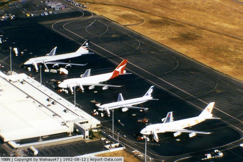 Brisbane International Airport, Brisbane, Queensland Australia (YBBN) - Airport Overview of 'Old Eagle Farm' International Airport YBBN, taken from Australian Airlines first A300B4-203 VH-TAA, on approach to 'New Eagle Farm' Airport on 12Aug1992.