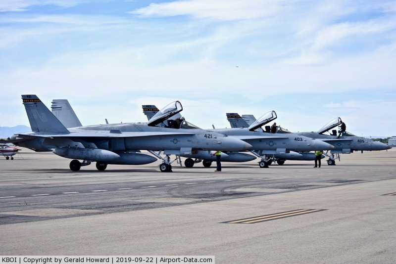 Boise Air Terminal/gowen Fld Airport (BOI) - Three F/A-18C aircraft from FMFA-323