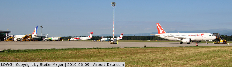 Graz Airport, Graz Austria (LOWG) - A busy Sunday morning