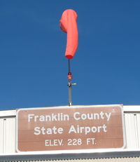 Franklin County State Airport (FSO) - windsock on hangar - by Timothy Aanerud
