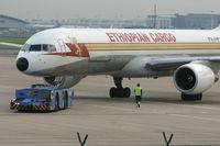 Brussels Airport, Brussels / Zaventem  Belgium (BRU) - B757-260/FP - ET-AJS - is pushed back to take off - by Daniel Vanderauwera