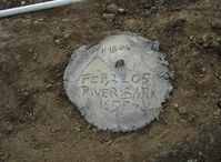 Santa Paula Airport (SZP) - New aircraft tail anchor pad set in concrete-Commemorating 2005-02-22 Santa Clara River washed out part of Rwy 04-22 disabling Airport for 5+ months. River overflow washed out land to 165 feet from this point - by Doug Robertson