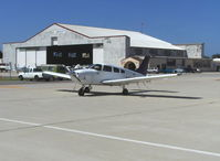 Camarillo Airport (CMA) - Transient parking Piper Cherokee in front of Waypoint Cafe-overnight parking fee - by Doug Robertson