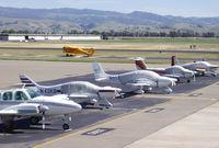Livermore Municipal Airport (LVK) - Aircraft parked near the Terminal. - by Bill Larkins